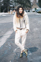 brown baroque free people boots - off white faux fur free people jacket