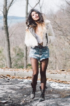 off white faux fur free people jacket