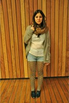 mustard unknown tights - beige Genfins jacket - eggshell by me shirt
