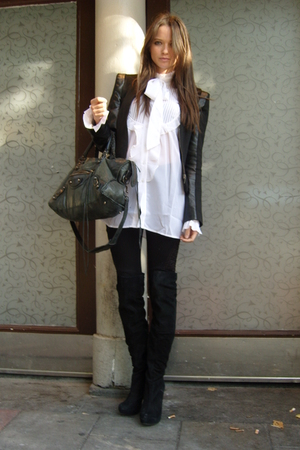 black Topshop blazer - black Topshop boots - black balenciaga purse