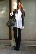 black Topshop blazer - black Topshop boots - black balenciaga purse