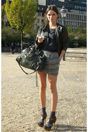 Topshop skirt - brown Marni shoes - black acne jacket - black balenciaga purse