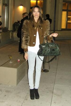 vintage jacket - GINA TRICOT jeans - balenciaga accessories - Topshop shoes