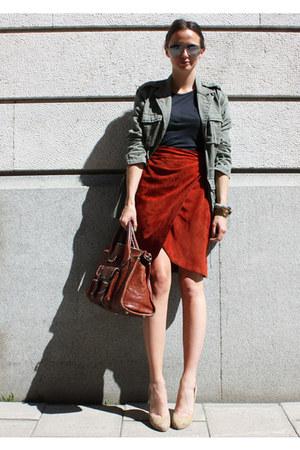 Monki jacket - Chloe bag - Aldo pumps - vintage skirt - acne t-shirt - PROENZA S