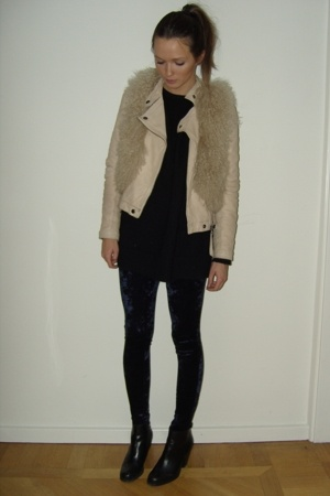 Monki tights - vintage sweater - Zara jacket - Topshop vest - DonDonna shoes