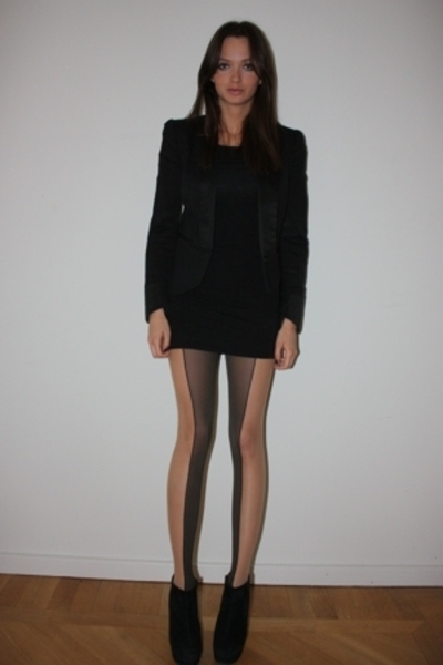 Wolford stockings - Paul & Friends blazer - American Apparel dress