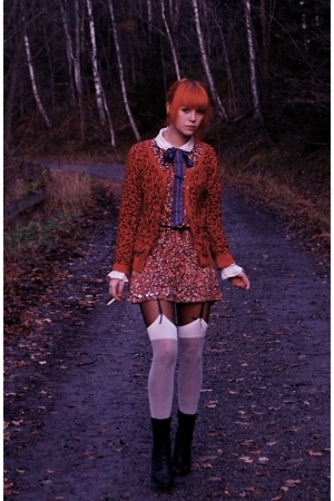 pink H&amp;M sweater - black lace up boots DinSko boots - red Target dress