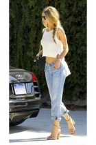loose jeans H&M jeans - leather H&M sandals - polyester American Eagle top