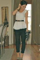 leather Moschino belt - H&M pants - blouson tank Forever 21 blouse