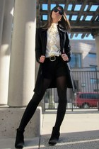 black pinstriped Zara shorts - black knit St John Knits jacket