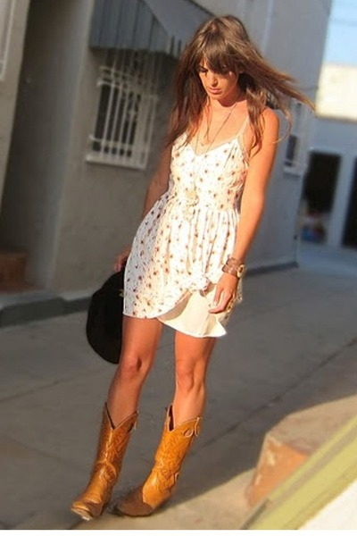 ivory silk BB Dakota dress - tawny cowboy thrifted vintage boots