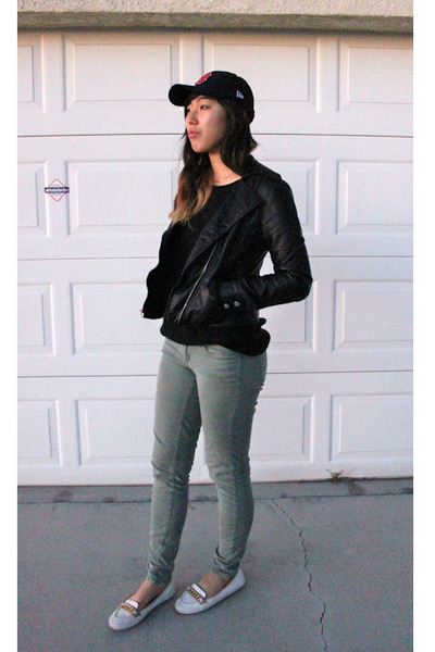 ivory flats - black H&M sweater - olive green Forever 21 pants