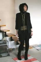 black second hand jacket - black Deichmann boots - black Topshop leggings