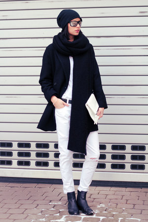 white Zara jeans - black Mango coat - white united colors of benetton bag
