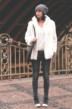white vintage coat - dark brown Converse shoes - charcoal gray Zara jeans