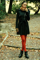 black Miss Sixty jacket - black Topshop boots - black pull&bear dress