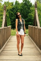 black Only vest - white hm shorts - black hm sunglasses - heather gray Zara top