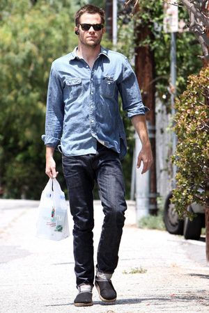 blue shirt - blue jeans - black shoes - brown sunglasses