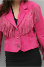Hot Pink Fringed Suede Vintage Jackets