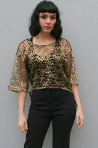 Gold-metallic-lace-vintage-shirt