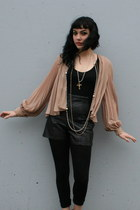 Nude Sheer Pleated Vintage Blouses
