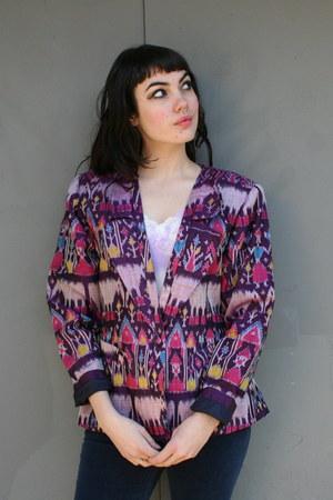 deep purple ikat silk vintage blazer