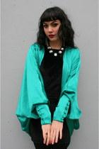 Teal-satin-cocoon-vintage-jacket