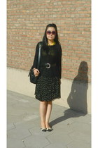 yellow hearts H&M dress - black random brand bag - black H&M jumper