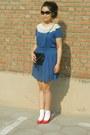 Camel-me-city-coat-blue-polka-dots-h-m-dress-black-vintage-from-mum-bag