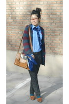 teal Topshop tights - blue Mango shirt - camel Topshop bag