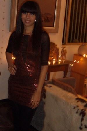 sequined mora mora dress - black Forever 21 leggings