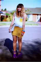 heather gray Steele top - mustard Steele skirt - purple Steve Madden wedges