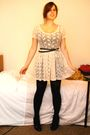 Beige-primark-dress-black-stockings-black-new-look-belt-silver-vintage-acc