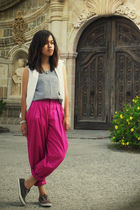 pink vintage store pants - white Guess vest - black top - brown Keds