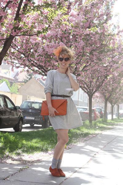 orange bag - orange leather shoes - dress