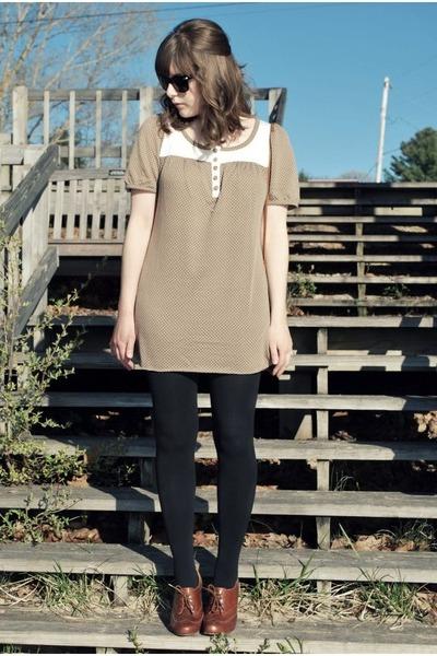 brown Mooka KinneydCloth dress - black Target tights - brown seychelles shoes -