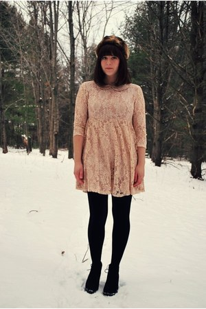 peach lace Forever 21 dress - black desert Forever 21 boots