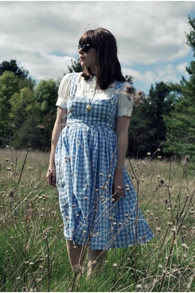 blue vintage dress - white thrifted shirt - black Oliver Peoples sunglasses
