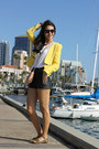 Yellow-zara-blazer-peach-rebecca-minkoff-bag-black-h-m-shorts