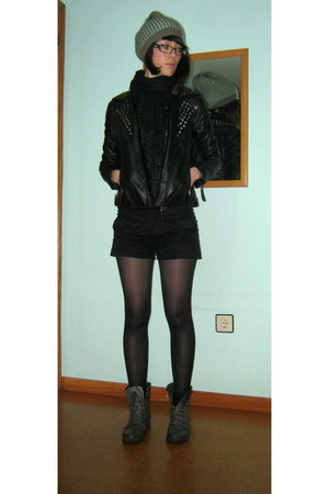 black pull&bear jacket - charcoal gray military Tienda local boots