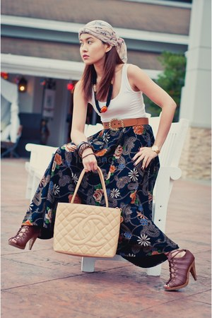 worn as turban H&M scarf - medallion Chanel bag - H&M heels - new look bracelet