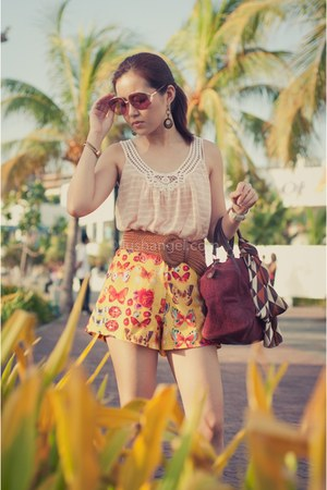 From China shoes - dior bag - xoxo shorts - H&M ring - Forever 21 top - H&M brac