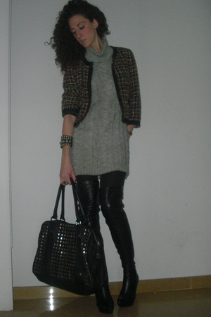jacket - gray sweater - black bracelet - black purse - black boots
