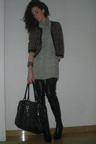 jacket - gray sweater - black bracelet - black purse - black boots