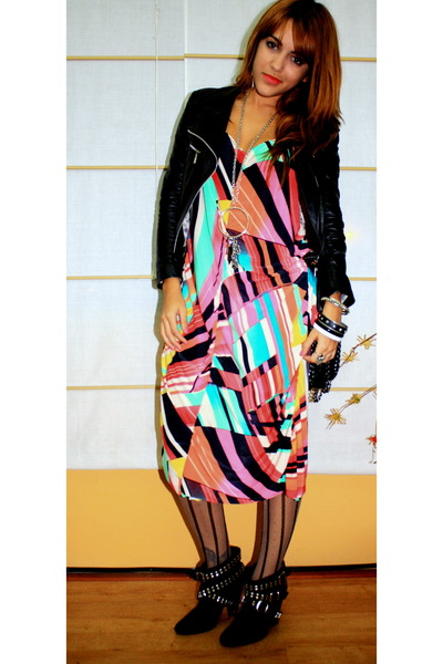 black Zara boots - hot pink made by me LoLu dress - black leather boutique jacke
