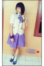 purple my school uniform-tailors made skirt - otha shoes - unbranded vest - unbr