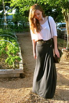 dark brown thrifted bag - light pink Express top - navy Strut skirt - black belt