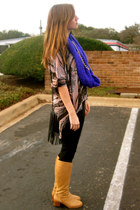 made by me scarf - Nine West boots - Gap leggings - cotton on top
