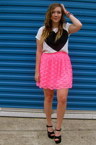hot pink Urban Outfitters skirt - white H&M shirt - black Kimchi Blue heels