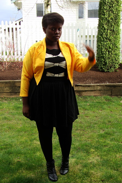 black joe fresh style sweater - black Old Navy skirt - gold thrifted jacket - bl